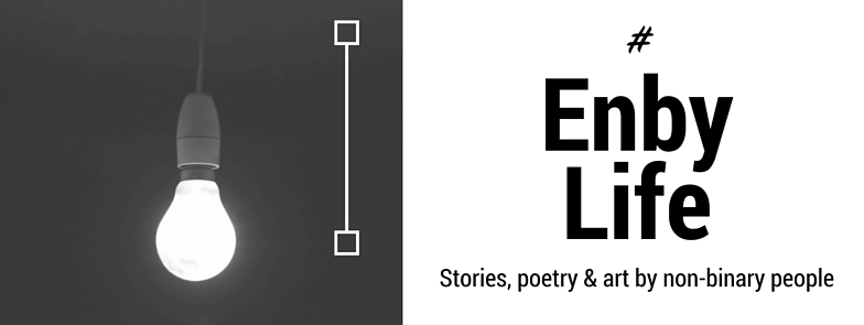 Cover photo of #EnbyLife zine - white lightbulb with black background on the left hand side and #EnbyLife text on the right hand side