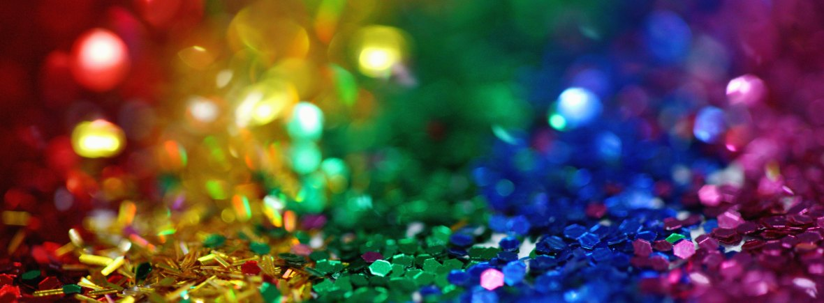 Photo of very shiny glitter in colours of the rainbow