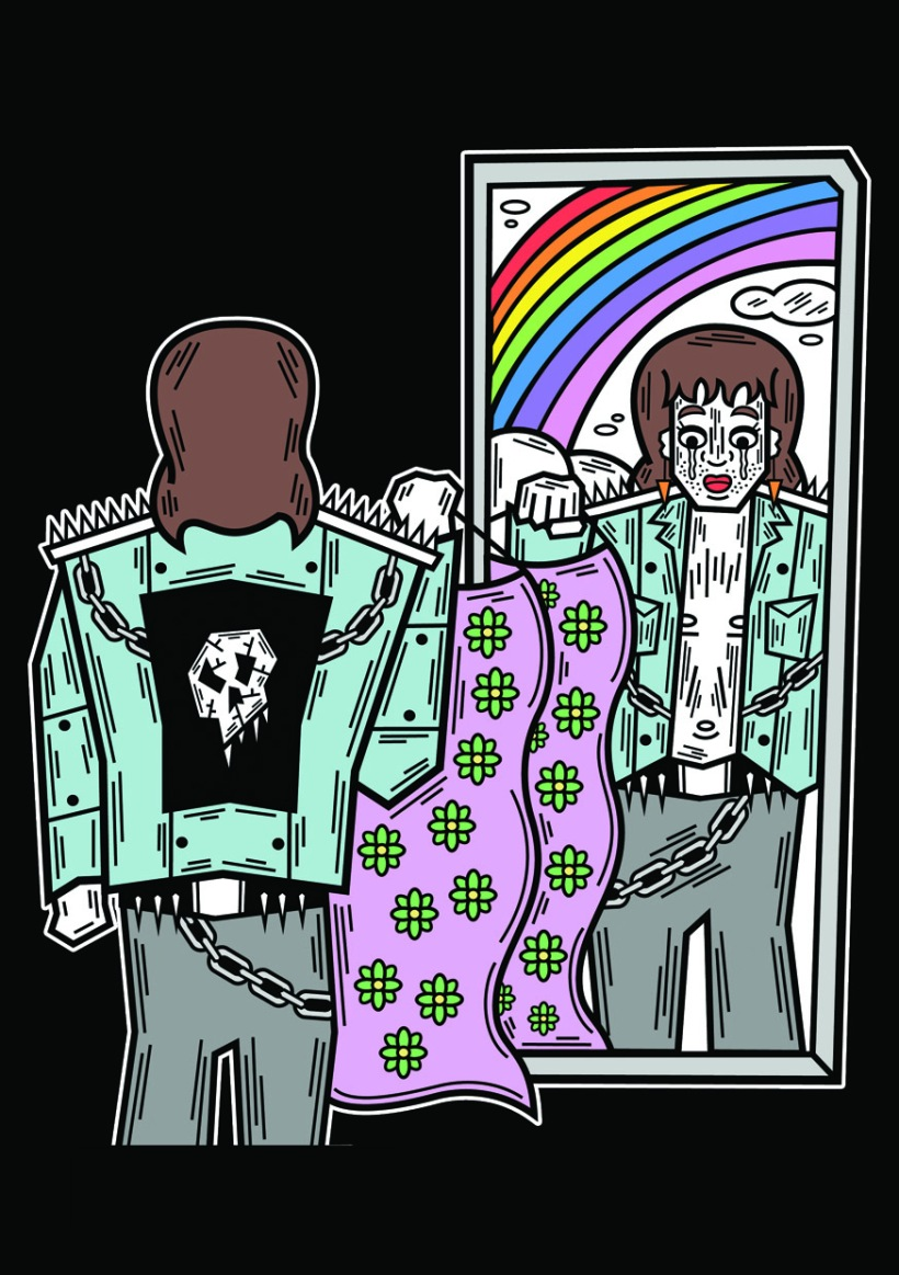Coloured illustration of a person with shoulder length brown hair wearing grey pants and a blue biker jacket with skulls, chains and spikes. The person is standing in front of a mirror holding up a pink dress with green flowers. In the mirror's reflection we can see the person is wearing earrings and red lipstick. There is a rainbow and clouds behind them.
