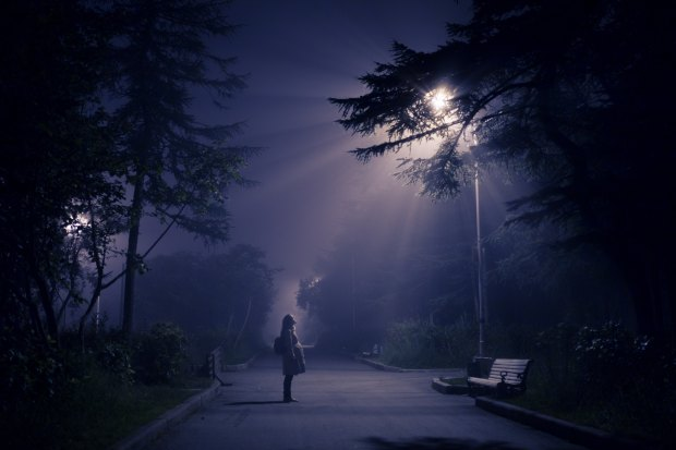 Photo of a person standing on a darkened street or footpath, flanked by trees, facing a park bench and staring up at a glowing street lamp.