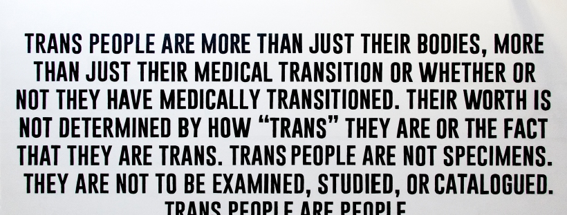 "Mural on a white wall written in all caps in black text, stating the following: Trans people are more than just their bodies, more than just their medical transition or whether or not they have medically transitioned. Their worth is not determined by how ""trans"" they are or the fact that they are trans. Trans people are not specimens. They are not to be examined, studied, or catalogued. Trans people are people."