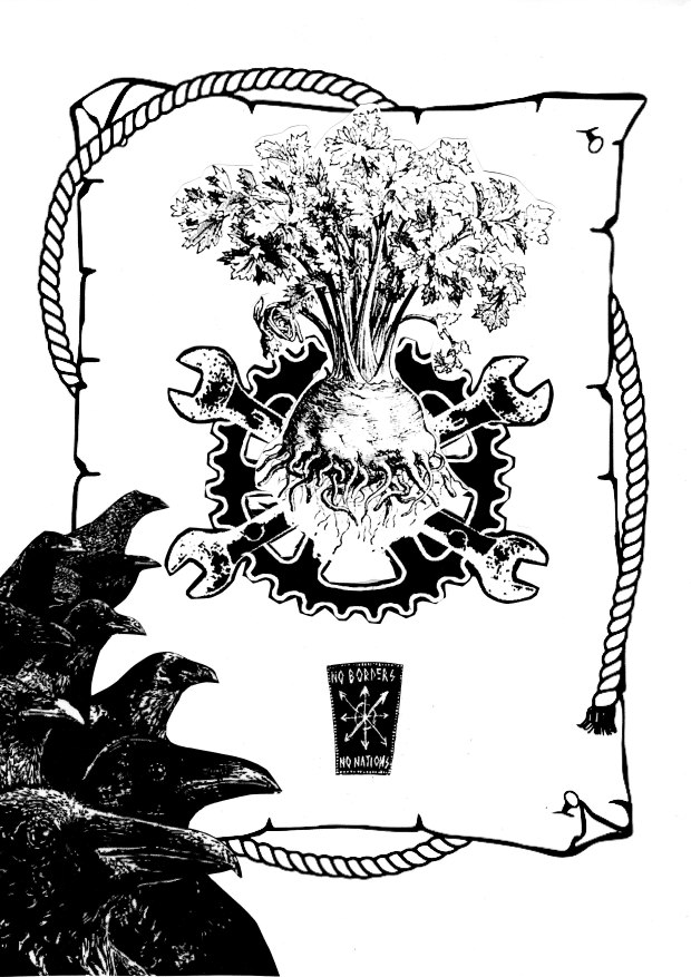 Image of a radish surrounded by rope and crows at the bottom of the image, with a compass and the text 'no borders, no nations'