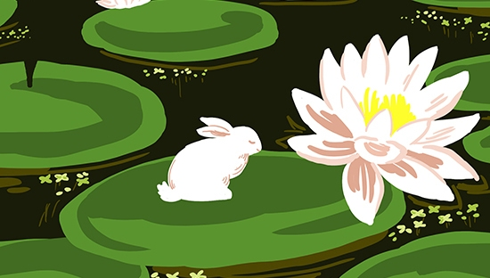 Colour illustration of a rabbit sitting on a green lily pad in a pond.