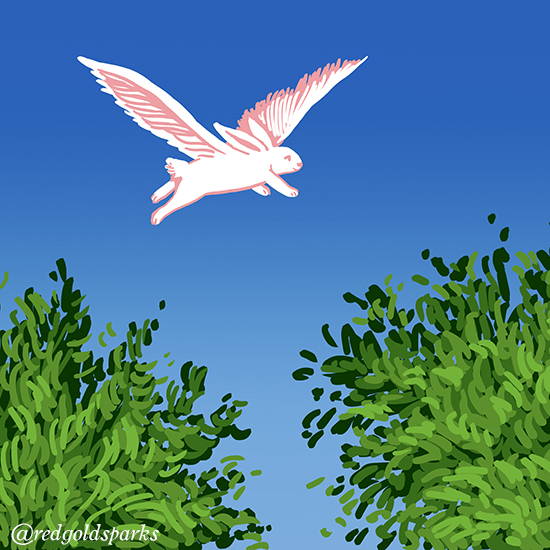 Colour illustration of a rabbit with wings flying above trees.