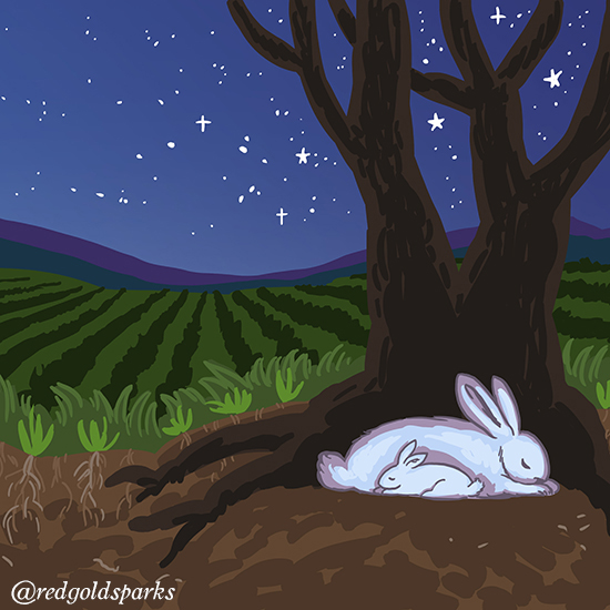 Colour illustration of two rabbits curled up beside a tree at night.