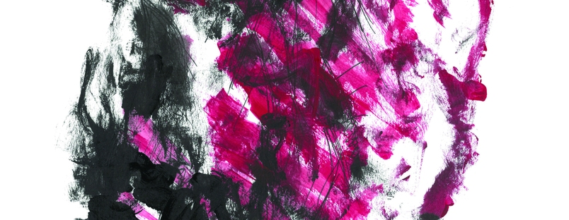 Picture of the book ransack by essa ma ranapiri. The front cover image is smudges of pink and black paint.