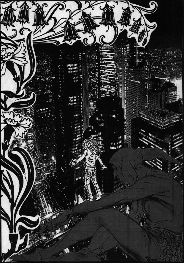 Black and white collage artwork of a nighttime city in the background. In the foreground is a harlequin and a small person balancing on their arm. There are flowers and leaves down the left hand side of the image.