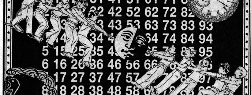Black & white collage artwork featuring numbers in the background with a clock in the top right hand corner, and kids pulling on a rope in the foreground with a moon in the middle