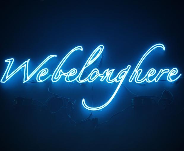 Webelonghere blue LED signage