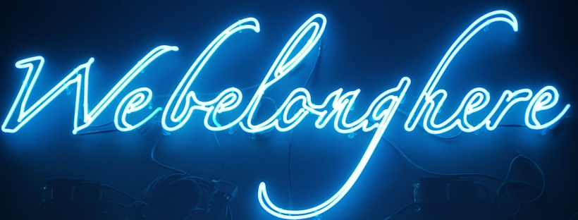 Webelonghere blue LED signage