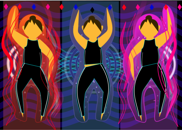 Digital/visual art inspired by the anime Sailor Moon and the Sailor Guardian's transformation sequences, including three people in black clothing with bright colours behind them.