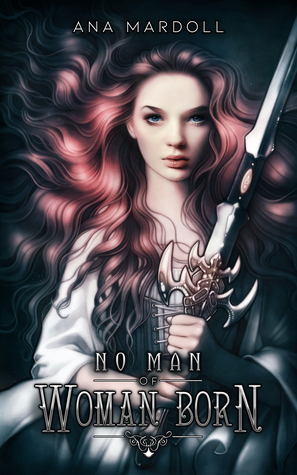 cover of the book No Man of Woman Born, featuring a pink/red headed white person clutching a sword
