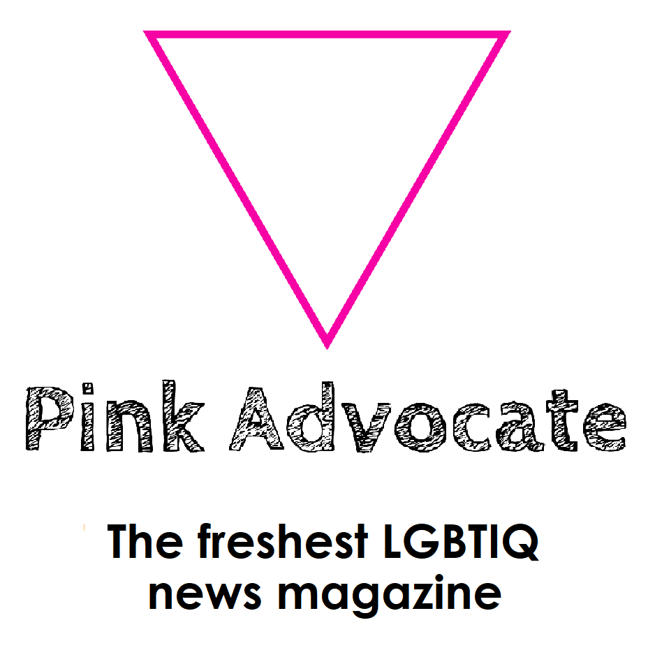 square ad with a pink upside down triangle that reads 'Pink Advocate, the freshest LGBTIQ news magazine'