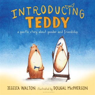 header image with the book cover of Introducing Teddy with a teddy bear standing in front of a mirror