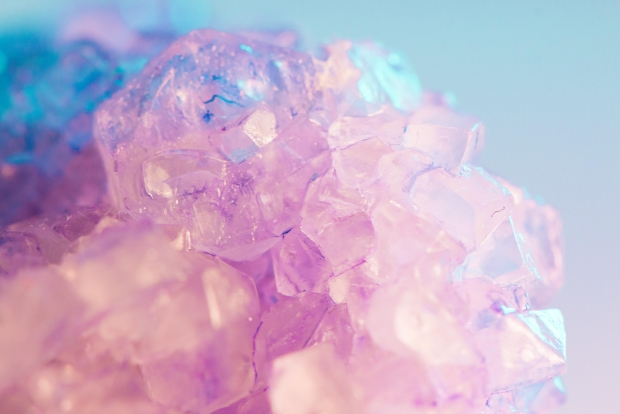 close up photo of blue and pink crystal