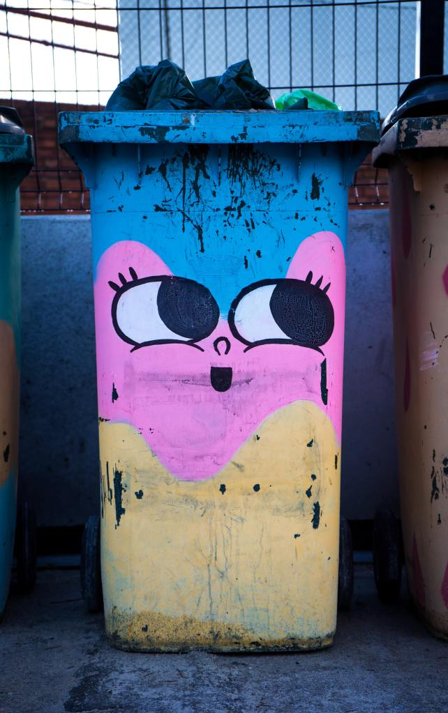 Photo of a wheelie bin/rubbish bin painted in blue, pink and yellow with a face with wide eyes and eyelashes.