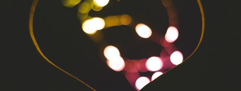Photo of fairy lights shaped into a heart