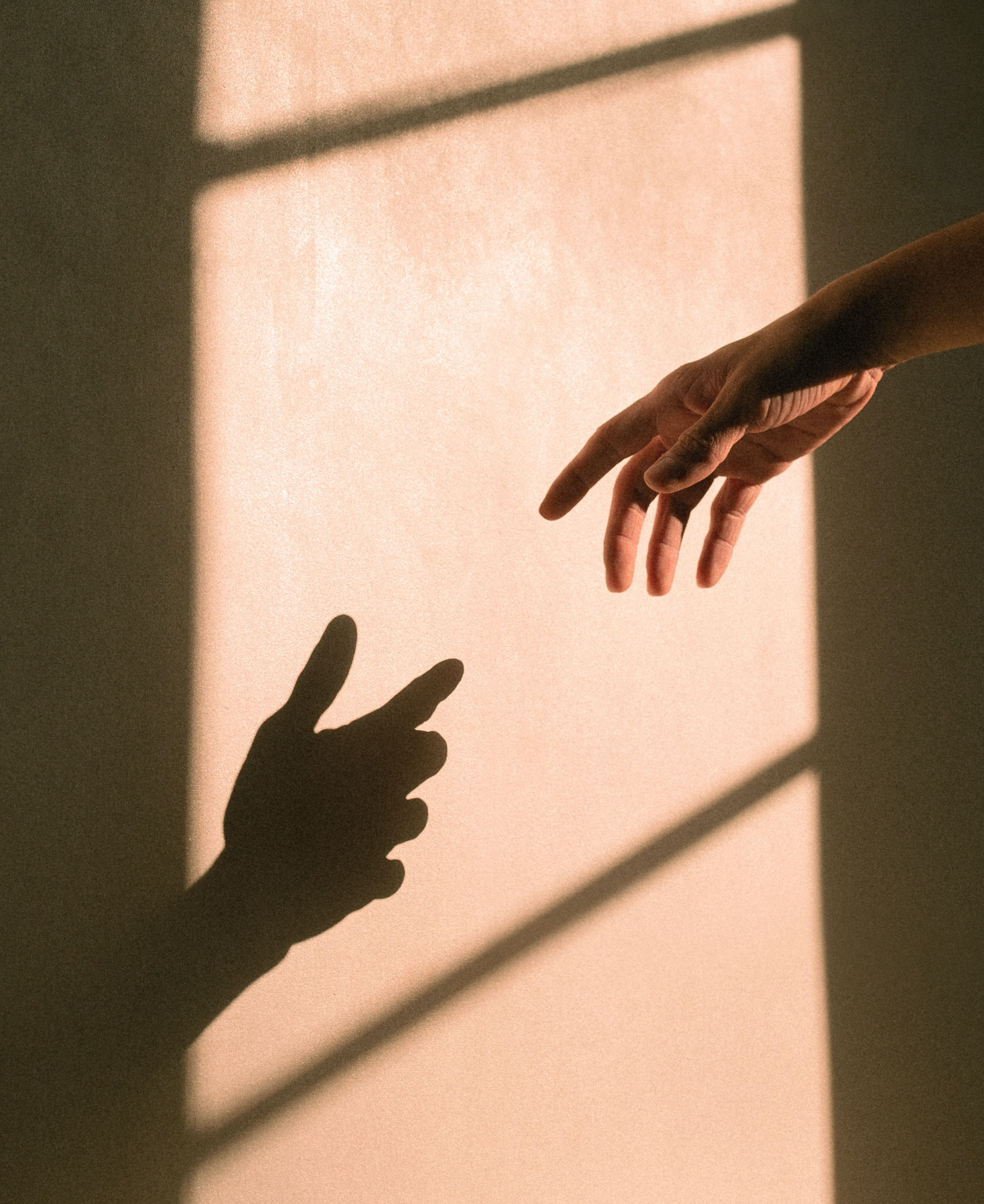 Photo of a hand in front of a sunlight wall, seemingly reaching for the shadowed hand their fleshy hand casts.